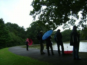 Some of the 'weatherproofed' attenders at the pond